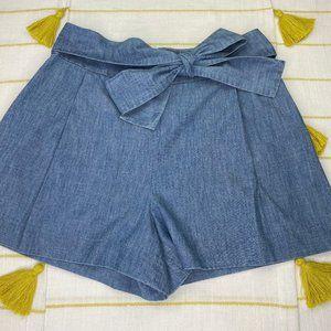 J Crew Chambray Tie Waist Shorts High Rise Women 8